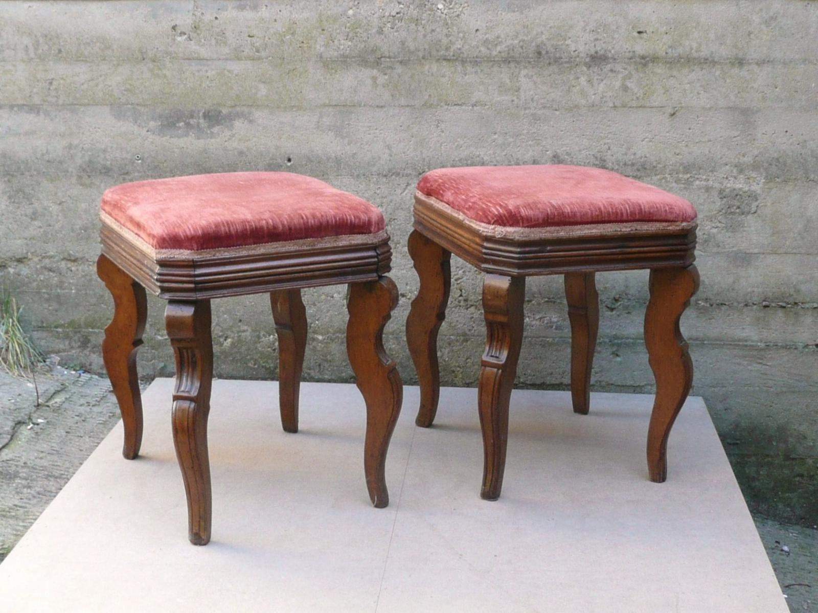 Corydon italia coppia di sgabelli carlo x in noce arredi vintage